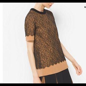 MICHAEL KORS    cashmere & Chantilly lace shirt S